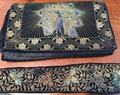 BEADED PEACOCK CLUTCH Black Velvet with Beaded Belt, Antique Beaded Clutch and Belt, Coutre, Zardozi, Persian at Ageless Alchemy