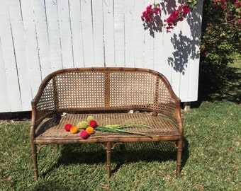 FAUX BAMBOO SETTEE Cane and Fretwork, Chinoiserie, Bali Hai, Hollywood Regency, Palm Beach Chic, Blank Canvas, Needs Work at Ageless Alchemy