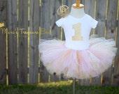 For Ms. Olszowy-Birthday tutu outfit, Smash cake outfit,  lace tutu, 1st birthday outfit, Princess ,birthday photo prop, gold crown, tutu