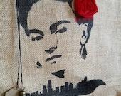 Frida Kahlo LA Skyline burlap tote bag