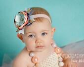 Addison - Navy, Coral, Pale Pink, Gold and Aqua Headband