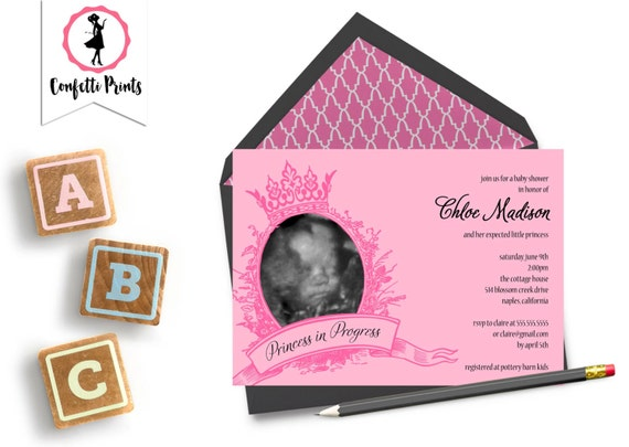 Princess Baby Shower Invitation | Princess Shower Invitation | Pink Princess Shower | Royal Baby Shower- PRINCESS IN PROGRESS | Printable
