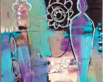 Abstract Art/Painting Purple, Blue, Black