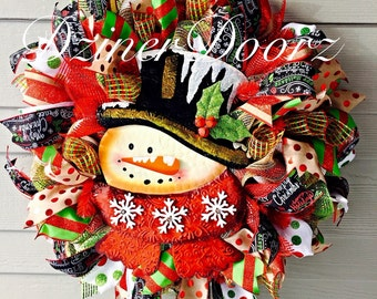 Snowman rustic winter mesh Wreath