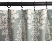 "CUSTOM DRAPERIES - A pair of Custom Curtains Berlin Snowy Slub Sea foam and white background 50"" wide X up to 108"" Long"