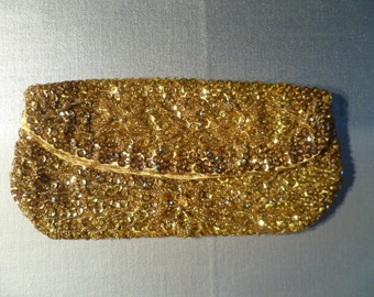 Vintage Gold Sequined Clutch Purse