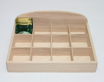 Wooden Tea Box  / 12 Open Compartments Box / Ash Wood Box / Natural Box / Tea Storage Box / Personalized Box Option / Eco Gift
