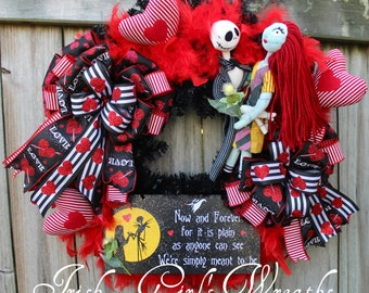 MADE TO ORDER Jack Skellington and Sally Meant To Be Wreath, Nightmare Before Christmas