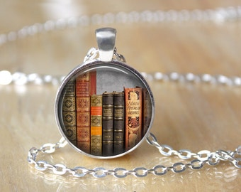 Book Jewelry - Book Necklace - Book Charm - Literary Jewelry - Library Necklace - Librarian Gift - Reader Gift - Book Worm (42)