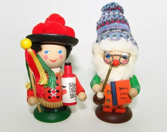 2 Wood Bavarian Figurines, Wooden Tomte, Santa Claus, German Lady, Wood Couple