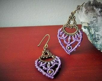 Macrame lavender fairy earrings