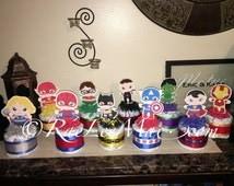 Baby Super Hero Diaper Cake/Super Heroes diapercakes/Super Hero Baby Shower decorations/Batman/Superman/Spiderman/Hulk/Robin/captain America