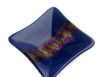 Indigo Blue Fused Glass Trinket Dish With Patterned Irid Stripe FB488
