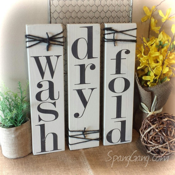 Laundry Room Signs Decor: Wash//dry//fold Laundry Room Decor Signs. Set Of 3 Rustic