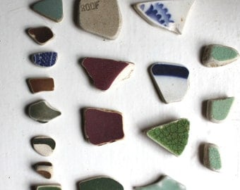 Scottish beach pottery sea glass china sea finds vintage sea beads terracotta jewelry supplies art&craft supply (324