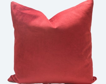 Decorative Velvet Pillow Cover, Red Throw Pillow, 18x18, 20x20, 22x22 or Lumbar Brick Red Pillow