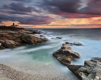 Lighthouse Photography Beach Decor Large Art Beavertail Lighthouse Sunset Photo Rhode Island Artwork Ocean Seascape Picture Teal Blue Purple