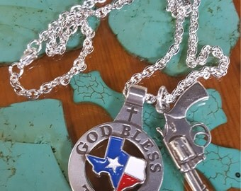God Bless Texas While I Protect Us Necklace