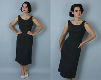1950s Pencil Lead dress | vintage 50s charcoal grey wool wiggle dress | xs/s