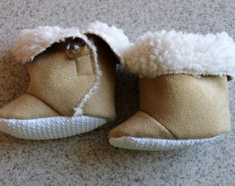 Baby Ugg Style Boots | Babies Sherpa Faux Suede Booties | Infant Boot