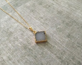 Light Blue Druzy Square Necklace