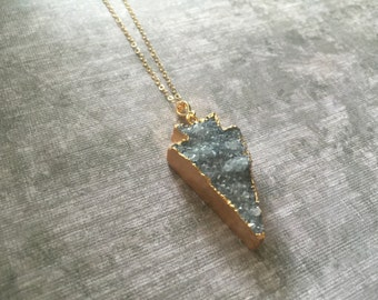Large Blueish Grey Druzy Arrowhead Necklace