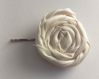 Ivory Rosette Flower Hair Pin w/ Headband
