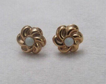14K Mid-Century Loveknot Opal Earrings - Pierced Posts
