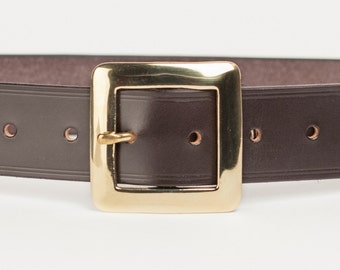 Dark Brown Bridle Leather Belt with 1.5 inch Square Buckle