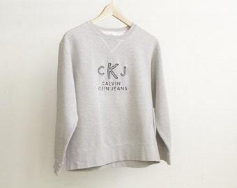 90s CK CALVIN Klein grey sweatshirt classic CKJ boxy top