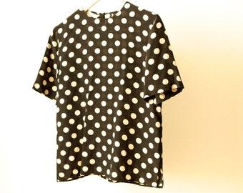 silk 90s black & white polka dot SLOUCHY button down shirt