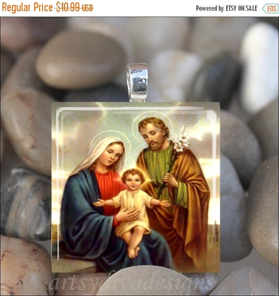 10% OFF SALE : HOLY Family Virgin Mary Baby Jesus Christ Joseph Religious Glass Tile Pendant Necklace Keyring