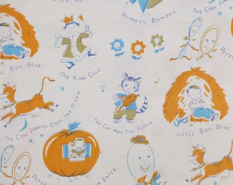 Vintage Dennison Juvenile or Baby Gift Wrap - Wrapping Paper - NURSERY RHYMES - 1950s