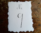 Wedding Torn Table Number Card, Calligraphy