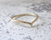 9ct Gold Wedding Ring - Holly Wishbone - 1.2mm - Slim Wishbone Ring - 9ct Gold