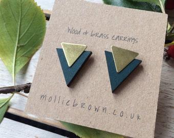 Triangle Earrings -Gift for her - earrings- geometric jewellery - geometric earrings - sterling silver studs - stud earrings- triangle lover