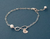 Infinity Bracelet with Initial Heart and Pearl - Personalized Infinity Forever Eternity - 925 Silver - Mom Mother Grandmother Sister Gift