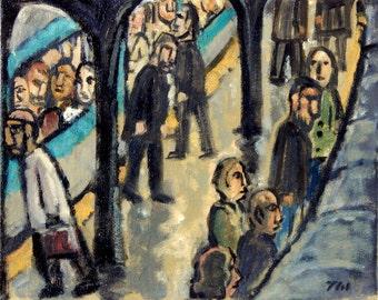Ici et La, Metro de Paris. Original Oil Painting, 8x10 inch Oil on Canvas, Urban Expressionist Subway Painting, Signed Original Fine Art