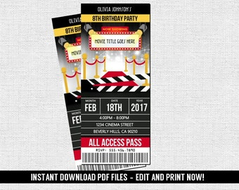 Movie Hollywood Ticket Invitations Birthday Party (Instant Download) Editable and Printable PDF Files -Theater Cinema Night Graduation