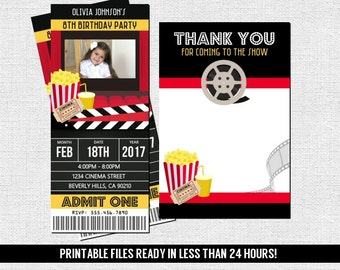 MOVIE TICKET INVITATIONS Theater Birthday Party + Free Thank You Card - (print your own) Personalized Cinema Printable with Photo