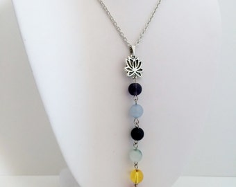 Chakra Pendant Necklace, Lotus Necklace, Yoga Necklace, Zen Jewelry, 7 Chakra, Y Necklace,