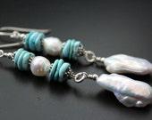 Pearl and Nacozari turquoise earrings keishi and baroque pearl earrings long earrings boho earrings sterling earrings genuine turquoise