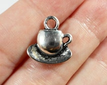 Coffee Cup Charms 15x15mm Antique Silver Teacup Charms, Tea Cup Charms, Coffee Cup Pendants, Cup and Saucer Charms, Metal Charms, 10pcs