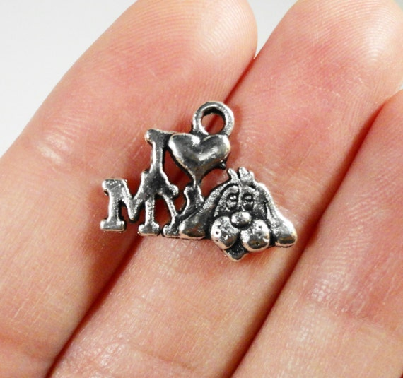 I Love My Dog Charms 17x14mm Antique Silver Dog Charms, I Love My Dog Pendants, Pet Charms, Puppy Charms, Animal Charms, I Heart My Dog 10pc