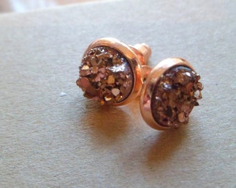 Rose gold  druzy stud earrings, druzy stud earrings, 8mm rose gold earrings, yellow gold studs.