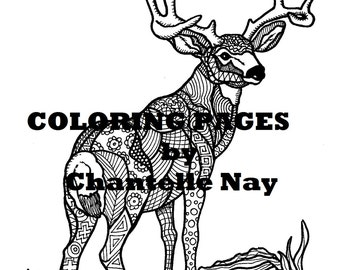 deer coloring page adult coloring picture animals wildlife zentangle advanced coloring printable coloring pages