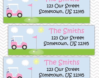 Golf Cart Pink - Personalized Address labels, Stickers