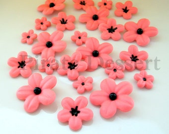 BOLD PINK  Assorted size Fondant Cherry Blossoms - Edible cake decorations (Bold Pink and Black) (24 assorted pieces)