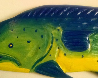 "Hand Carved 30"" Wooden Fish Mahi Mahi"