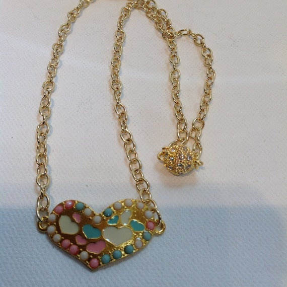 Hearts-in-a Heart Necklace, Pink White Turquoise Blue Hearts Gold Necklace, Rhinestone Magnet Clasp